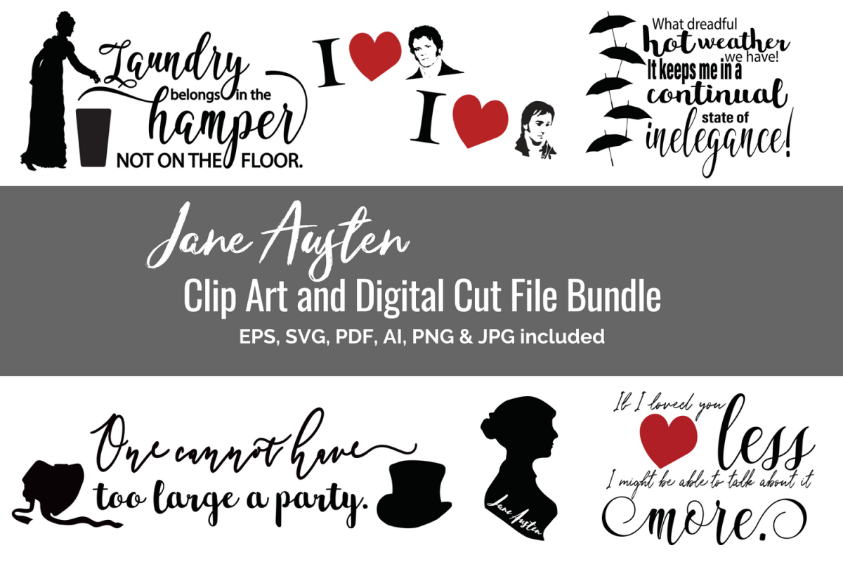 Jane Austen Clip Art and Digital Cut File Bundle.