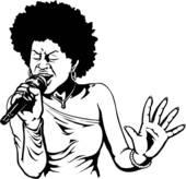Clipart of illustration, lineart, janis, joplin, celebrity, singer.