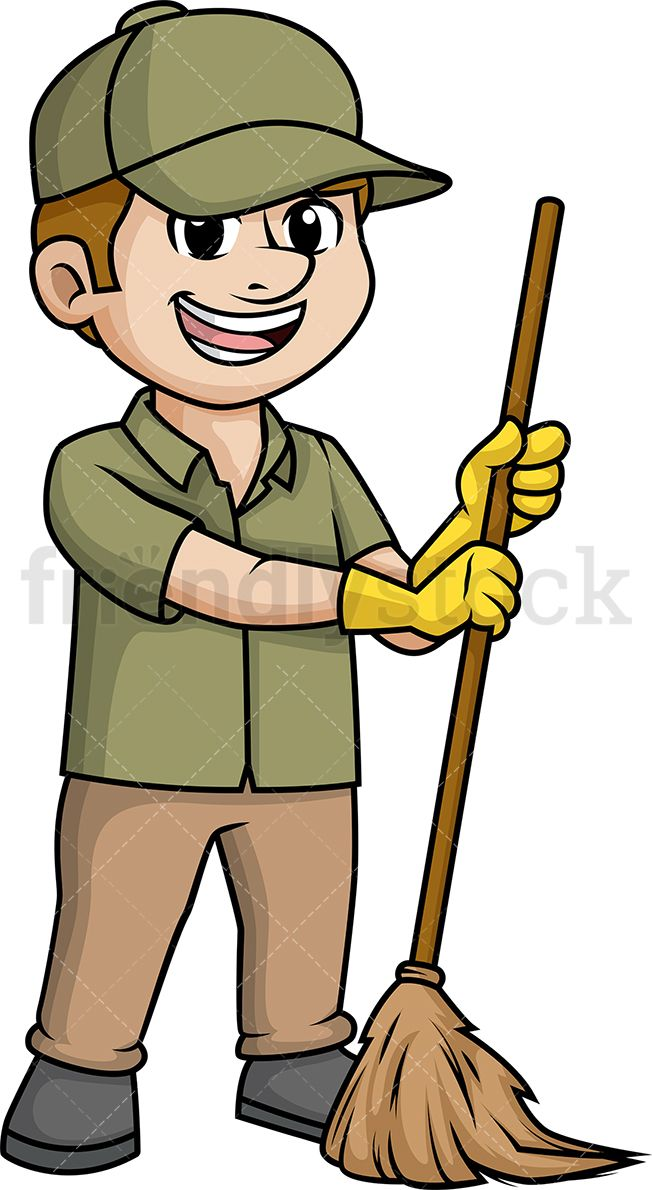Man Sweeping The Floor With Broom.