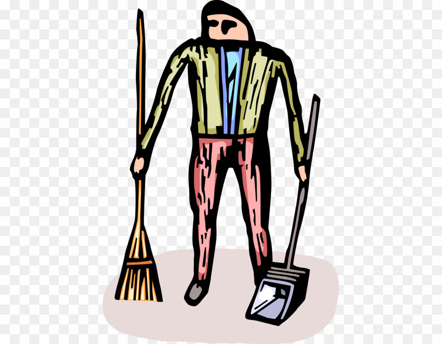 Cartoon PNG Broom Janitor Clipart download.