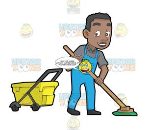 A Happy Black Janitor Mopping The Floor.