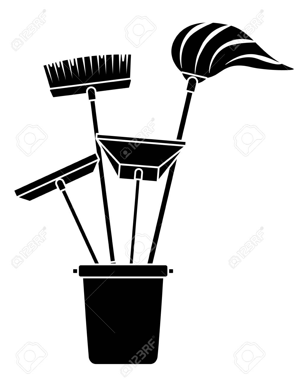 Various cleaning objects in a plastic bucket for janitorial cleaning...