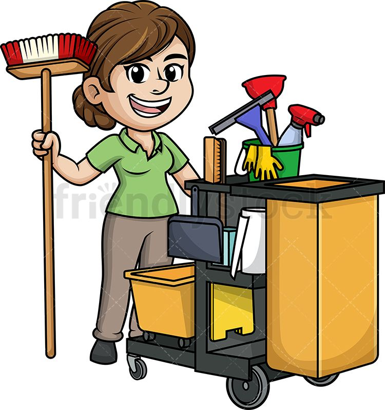 Female Janitor With Cleaning Cart.