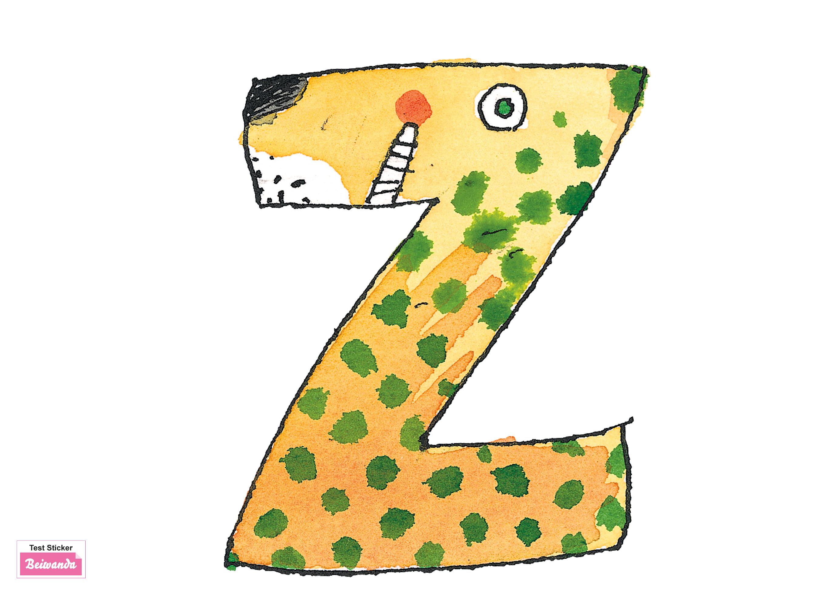 Wandtattoo Janosch Buchstabe Z _ 12 cm.