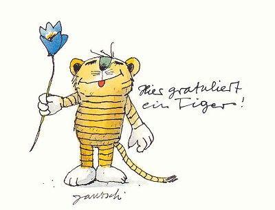 Janosch Postkarte Tiger Gratuliert.