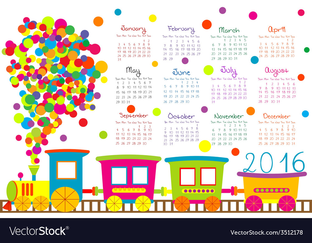 2016 calendar with cartoon train for kids.