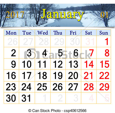 calendar for January 2017 with winter river.
