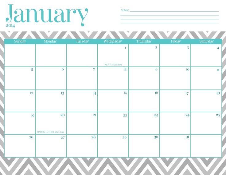 January 2018 Calendar Cute.