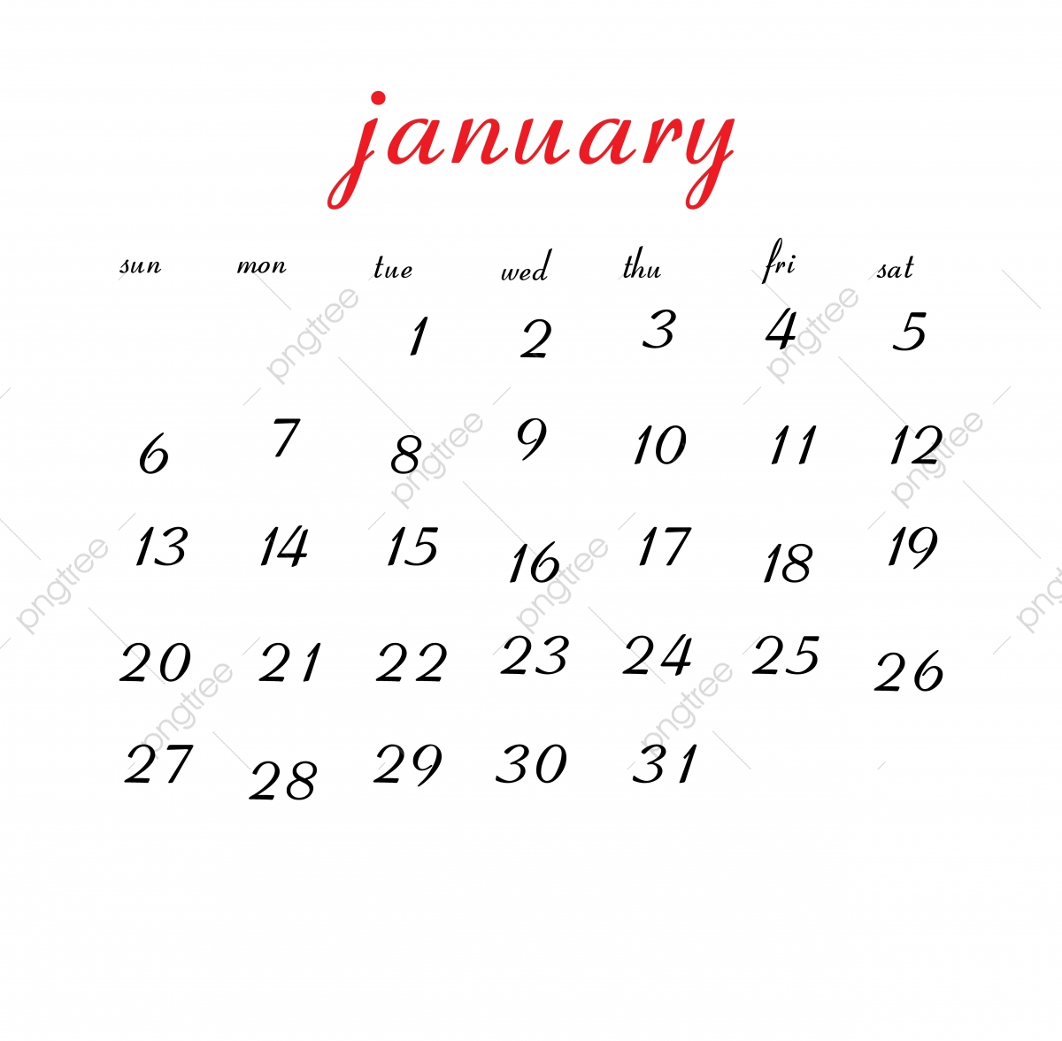 January 2019 Calendar, Calendar, Clean, White PNG and Vector with.