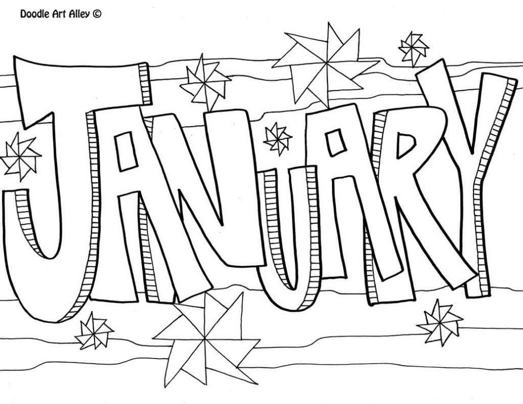 January Clip Art Black And White.