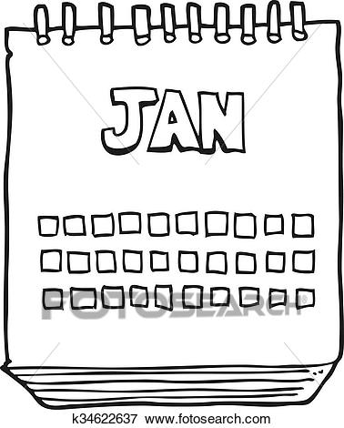 Black and white cartoon calendar showing month of january Clip Art.