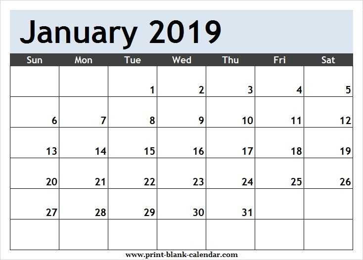 Free January 2019 Calendar Clipart Page.