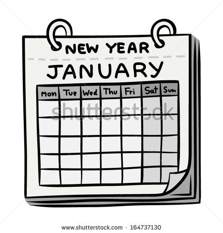 Calendar January Cartoon Vector Illustration Black Stock Vector.