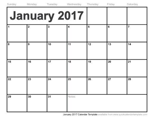 January 2017 Calendar Clipart.