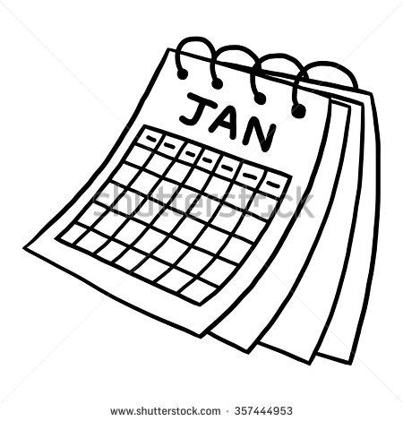 Black And White January Calendar Clipart.