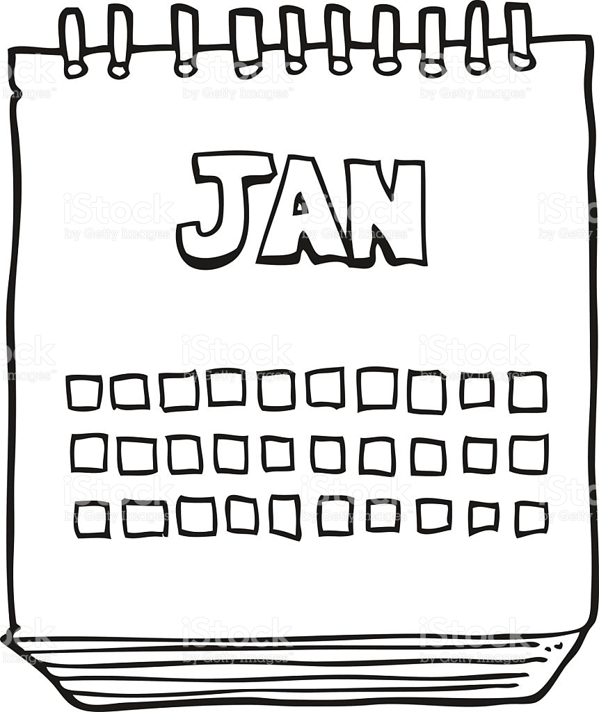 Black And White Cartoon Calendar Showing Month Of January stock.