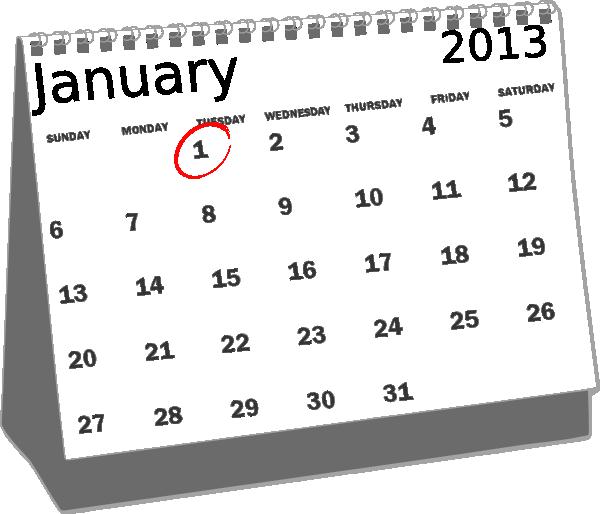 January Calendar Clipart Black And White.