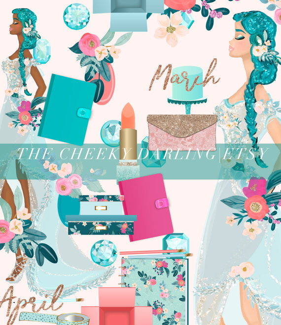 Planner Clipart Garnet January Valentines Day Floral Fashion Girl.