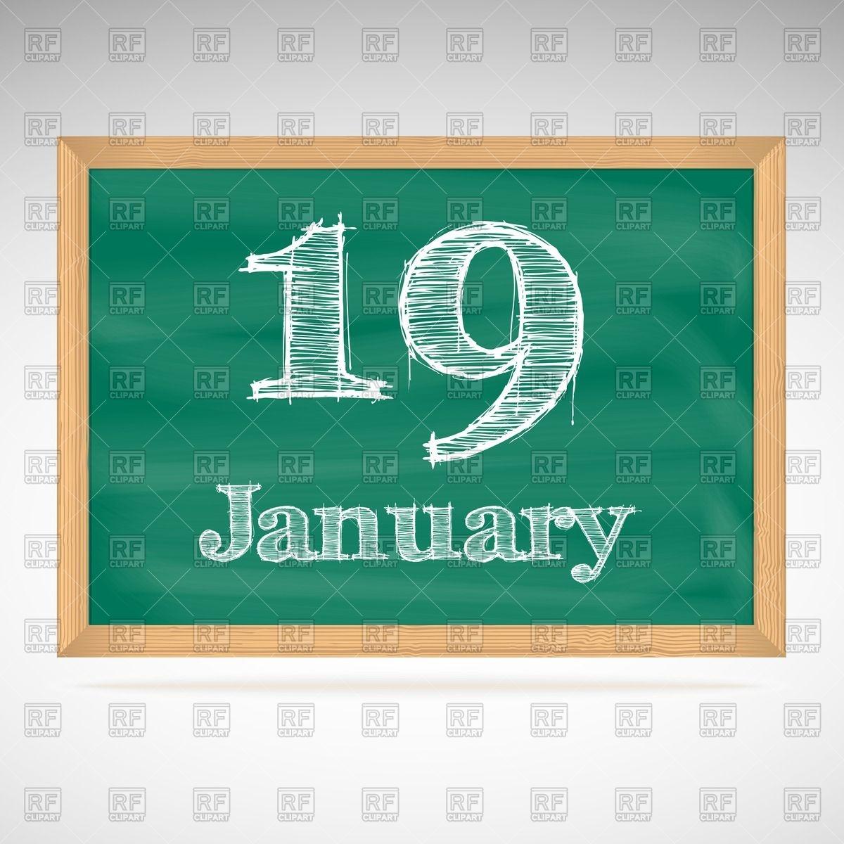 School blackboard calendar with inscription in chalk January 19.