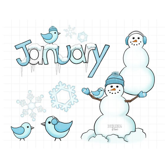 January Digital Planner Stickers.