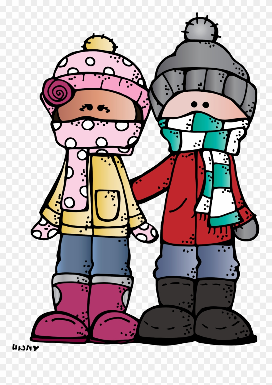 Clipart Of January, Winter And Students.
