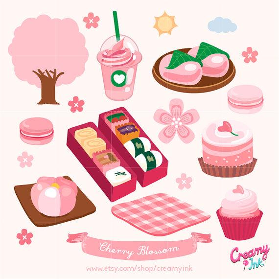Sakura Digital Clip Art / Cherry Blossom Digital Clipart Design.
