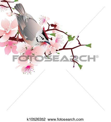 Clip Art of sprung bird on blossom cherry tree branch, japan style.