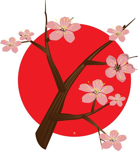 Cherry Blossom Tree With Japan Flag..
