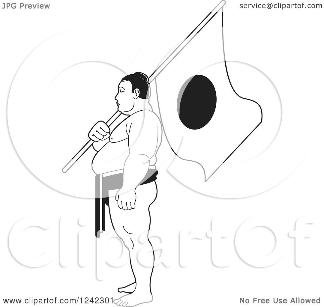 Clipart of a Black and White Sumo Wrestler Holding a Japanese Flag.