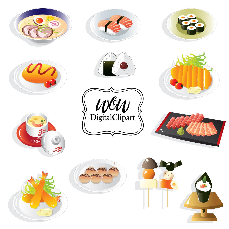 Sushi Set, Sushi Clipart, Japanese Food Clip Art, Japan.