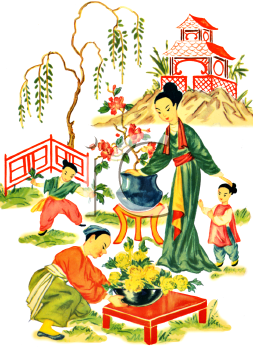 Japanese Scene of a Family in the Garden.