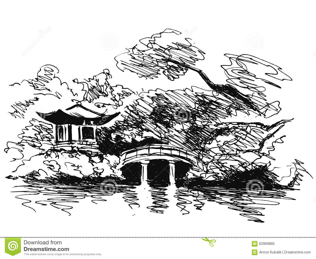 Japanese Garden Clip Art Black and White.