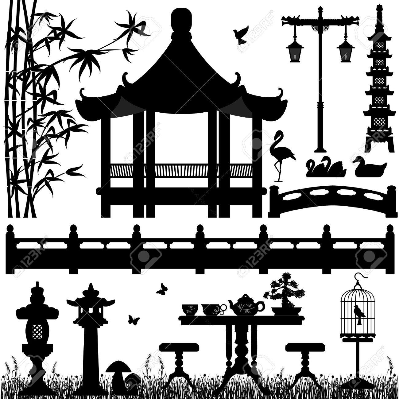 Japanese Garden Clip Art Black and White.