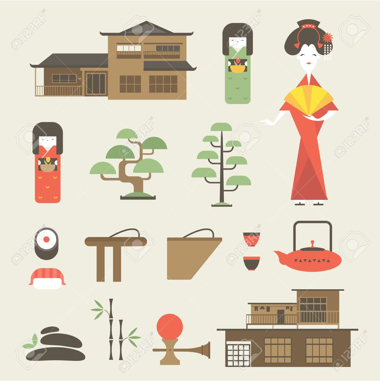 Set Of Various Stylized Japanese Icons Royalty Free Cliparts.