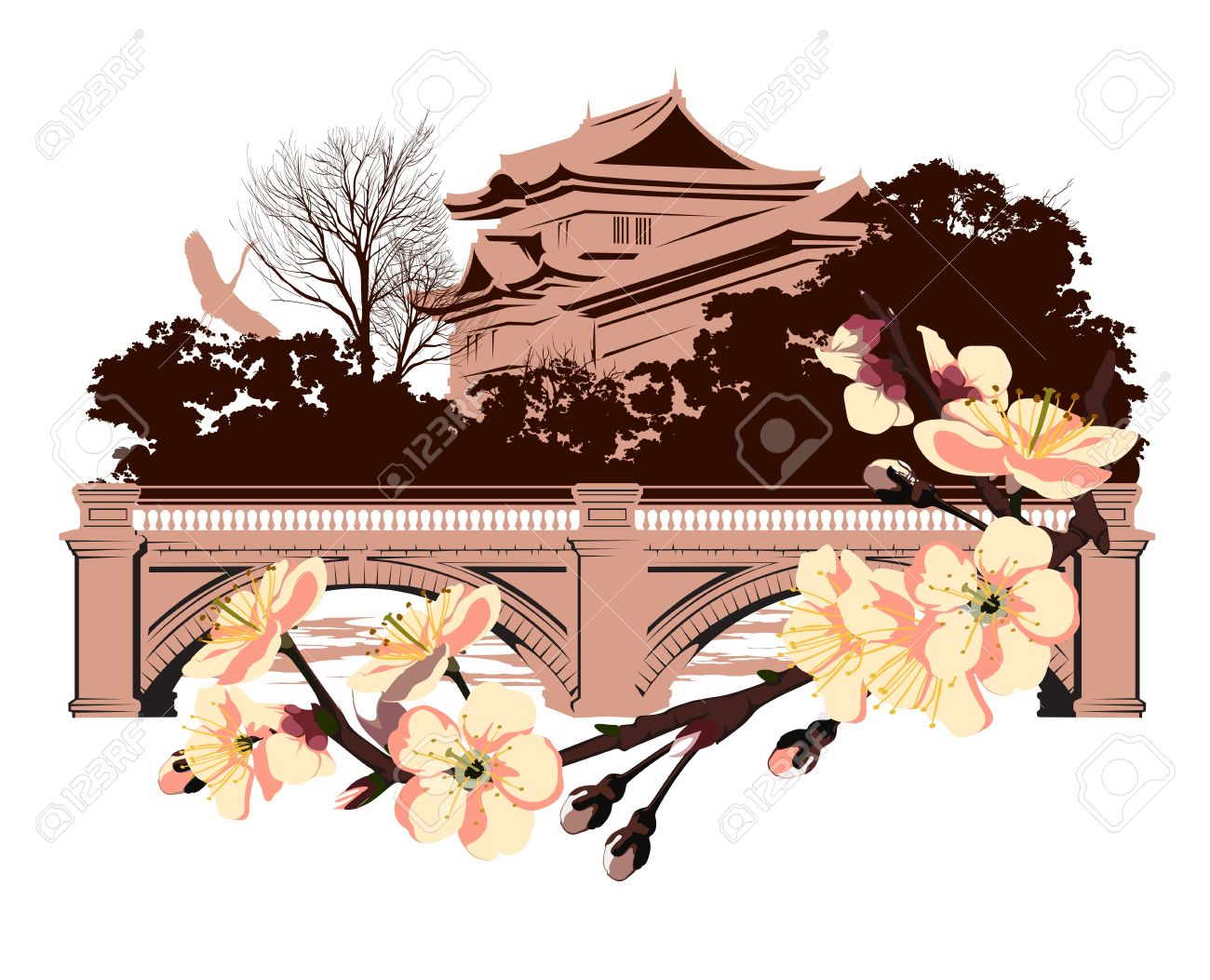 Cherry Blossom On A Background Of Japanese House Royalty Free.