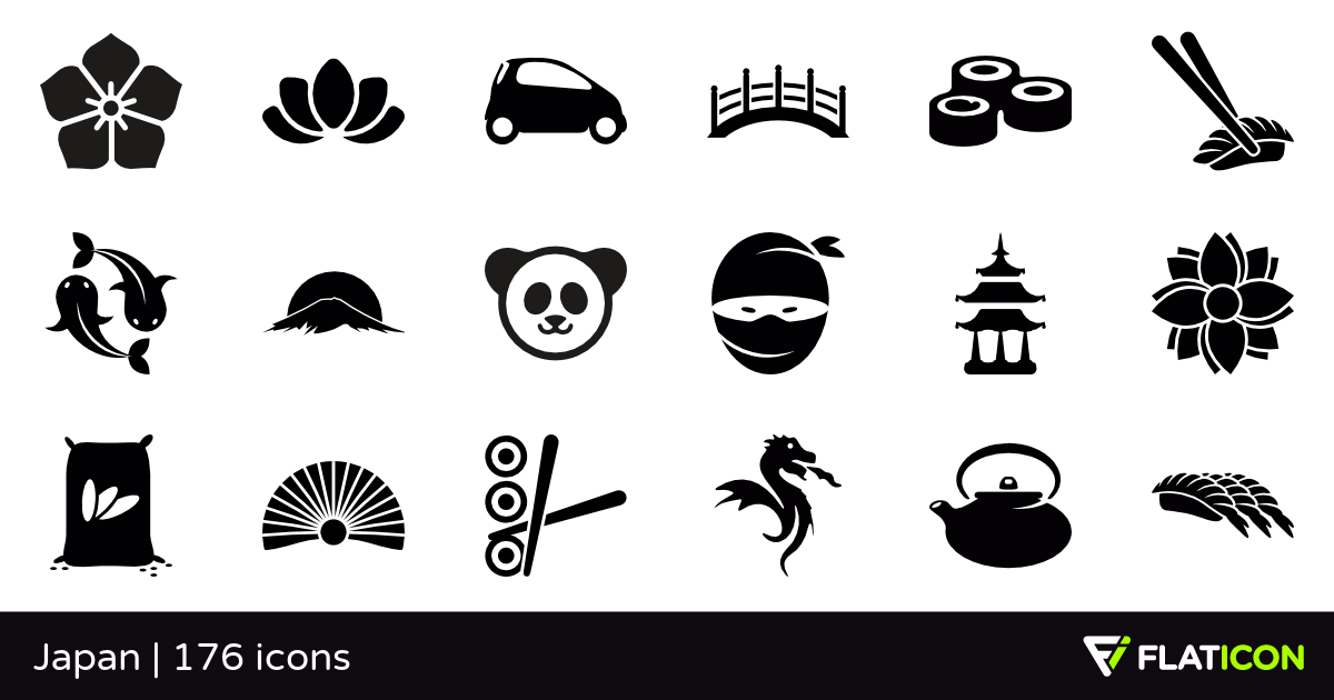 Japan +175 free icons (SVG, EPS, PSD, PNG files).
