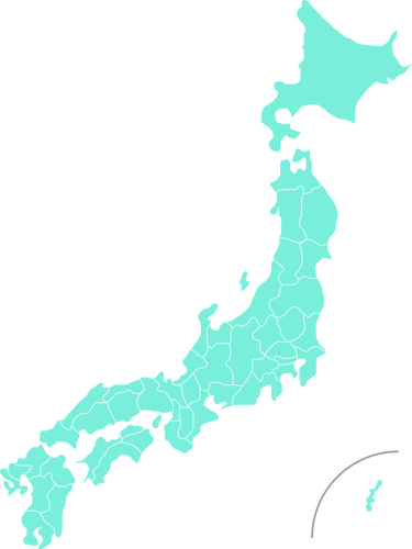 Blue map of Japan.