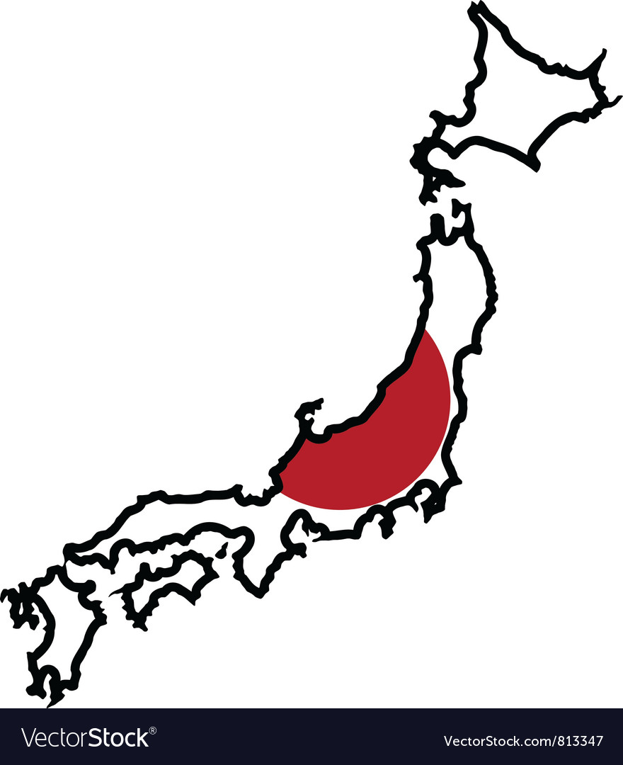 Map in colors of Japan.