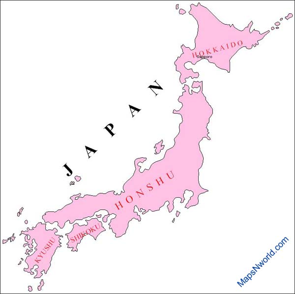 Japan Outline Map.