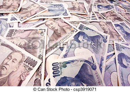Stock Photography of Yen bank notes, currency from Japan.