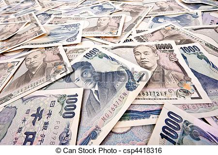 Stock Image of Yen bank notes, currency from Japan.