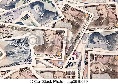 Stock Photographs of Yen bank notes, currency from Japan.