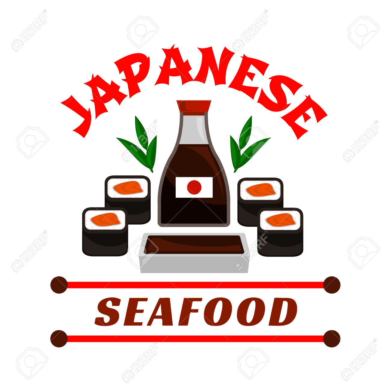 Japanese Seafood Restaurant Emblem. Sushi Rolls And Sauce Bottle.