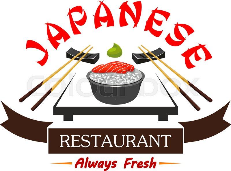 "Buy Vector ""Japanese cuisine restaurant menu card label, sushi bar."