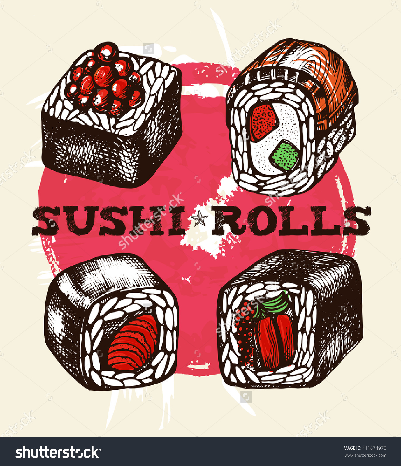 Japanese Sushi Rolls (Maki). Vector Illustration In Vintage Style.