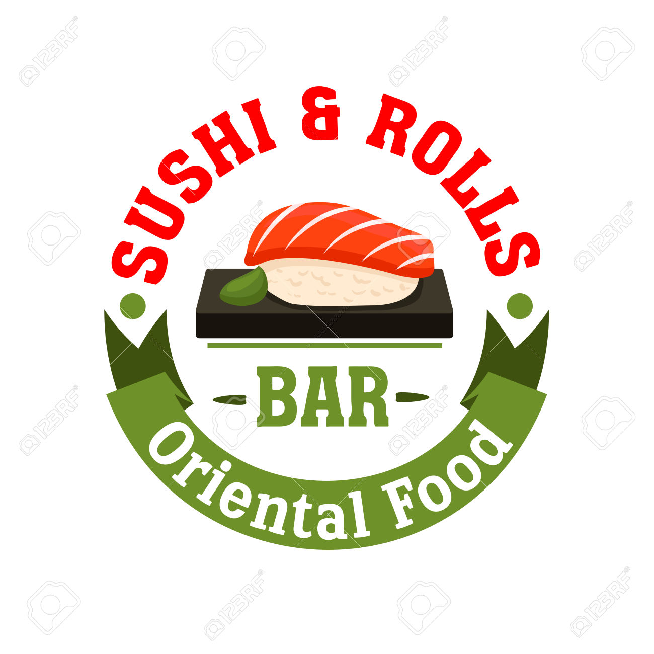 Sushi And Rolls Bar Icon. Japanese Food Restaurant Emblem. Seafood.