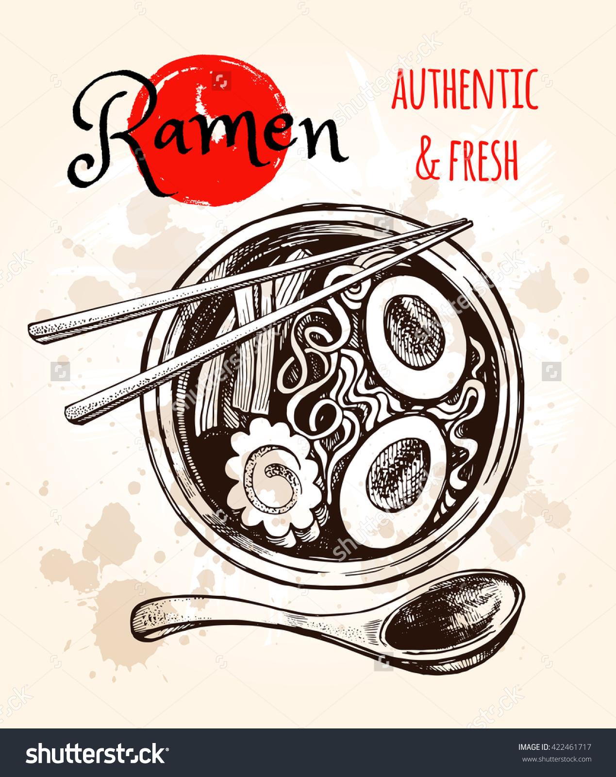 Japanese Cuisine Soup Ramen Vector Hand Stock Vector 422461717.