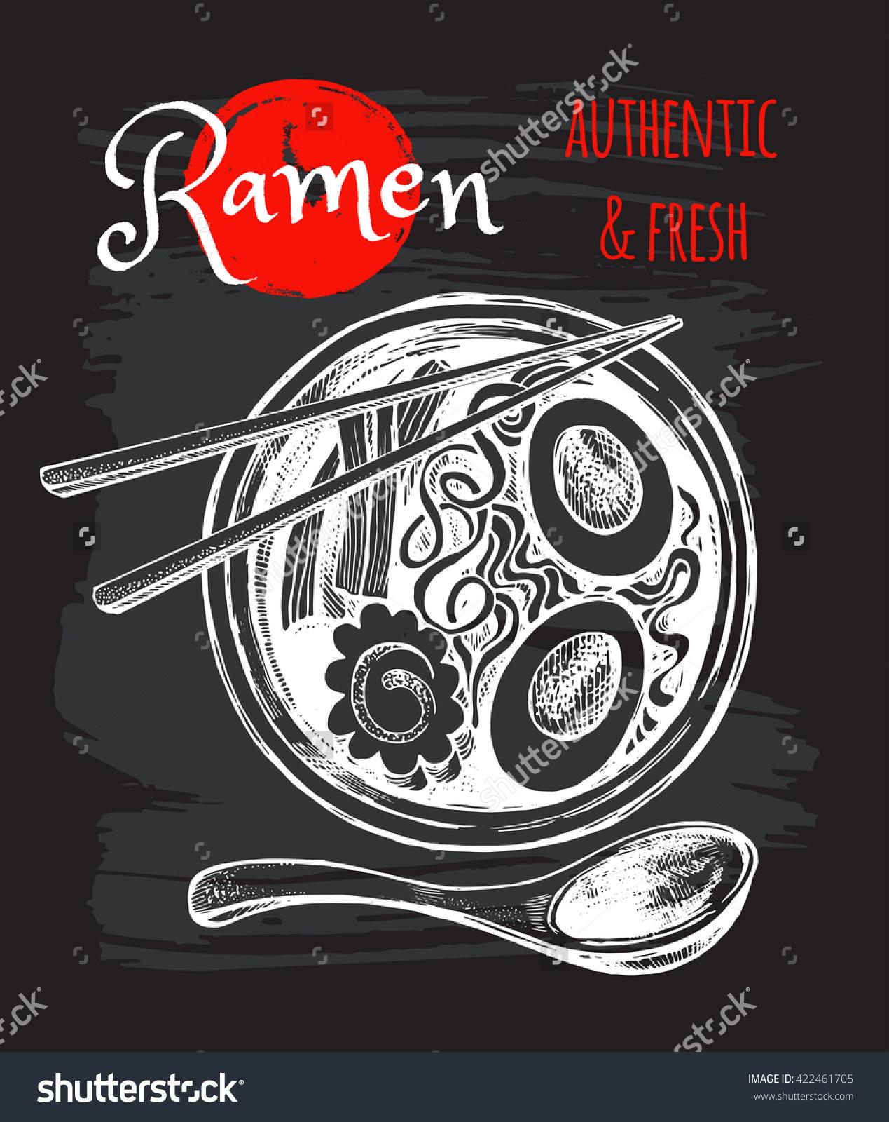 Japanese Cuisine Soup Ramen Vector Hand Stock Vector 422461705.