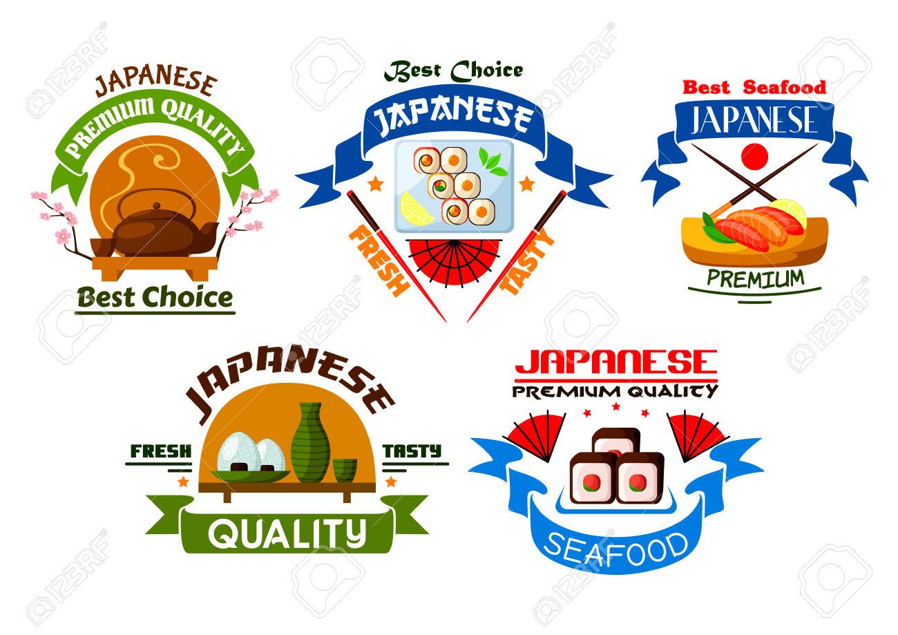 Japanese Food Restaurant Emblems. Sushi Rolls, Salmon Sashimi.