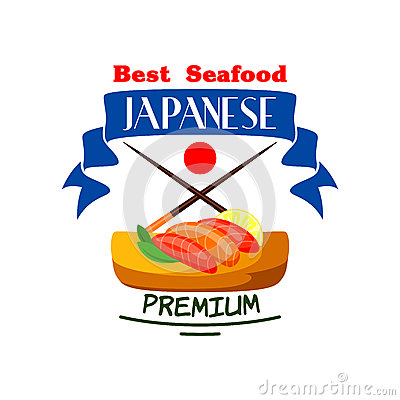 Japanese Best Premium Seafood Restaurant Icon Stock Vector.